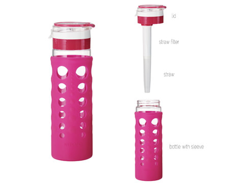 Artland Travel Water Bottle Glass Hydrapure Silicone-Wrap Pink-berry