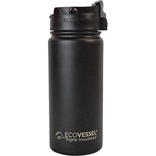 EcoVessel Travel Mug Insulated Stainless Steel Perk Black 16oz