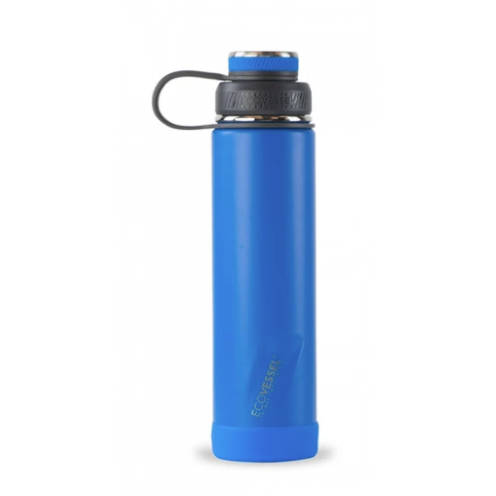 EcoVessel Water Bottle - The Boulder Insulated w/Strainer Hudson Blue 24oz