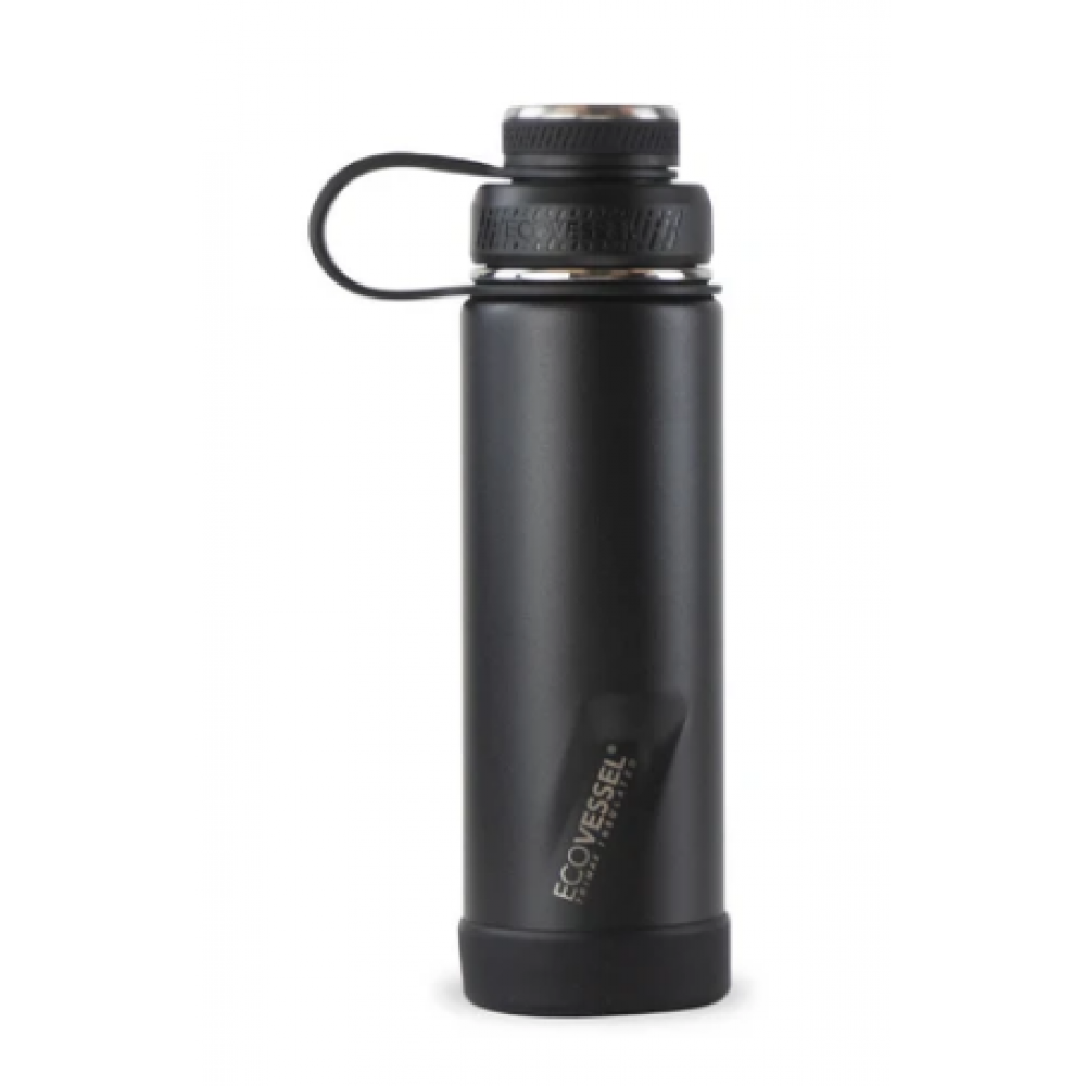EcoVessel Water Bottle - The Boulder Insulated w/Strainer Black 20oz