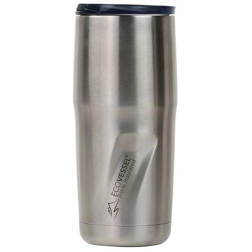 EcoVessel Travel Mug Insulated Stainless Steel Metro Silver 16oz