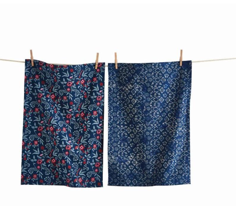Tag Dish Towel - Prairie Floral - Set of 2, Blue Multi
