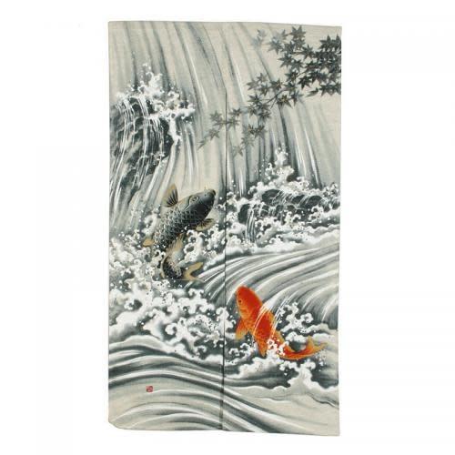 """Miya Noren 34""""x59"""" Koi Waterfall Door Curtain"""