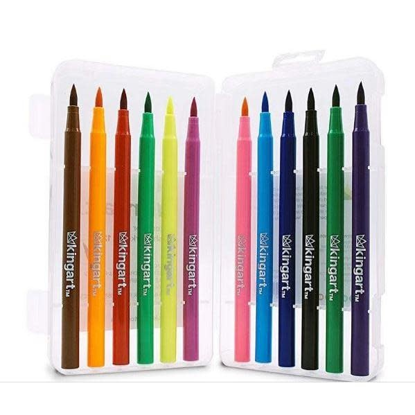 Kingart Watercolor Brush Markers 12 Colors in Reusable Plastic Storage Box