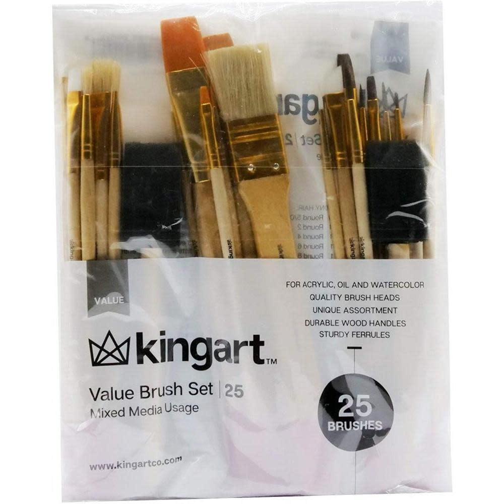Kingart Brush Set Mixed Media 25 Assorted