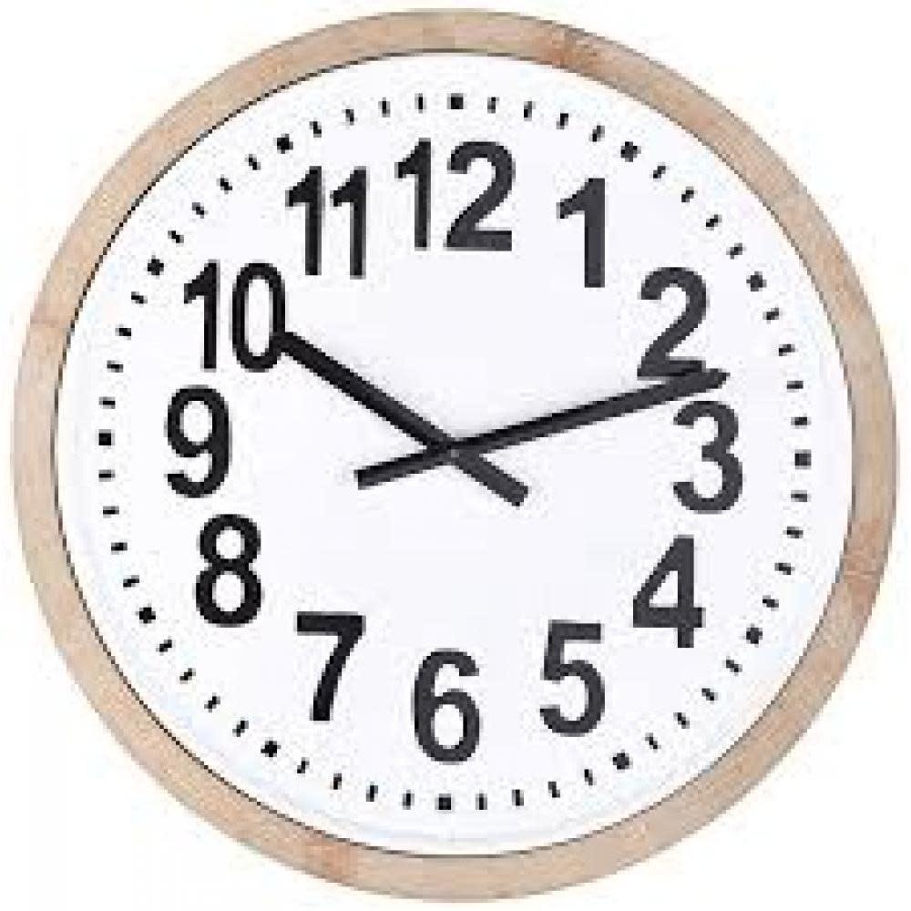 Creative Co-Op Round Wood Framed Metal Wall Clock