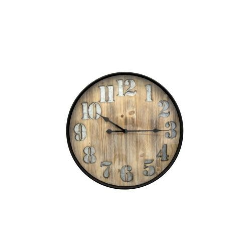 Three Hands Wall Clock Face-wood Frame-black