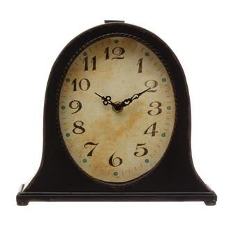 Creative Co-Op Metal Mantel Clock - Black (Requires 1-AA Battery)