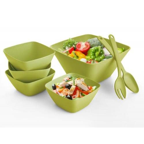 Culinary Edge Outdoor Dinnerware Square Bowls Bamboo-Composite - Green 7 Piece Set