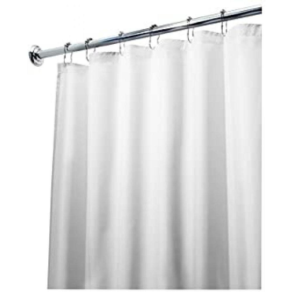 Interdesign Shower Curtain Liner - Water Proof Fabric White Extra Long