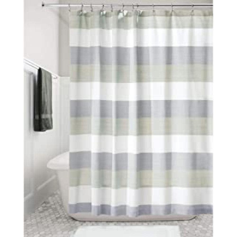 Interdesign Shower Curtain - Wide Multi Stripe Navy/sage