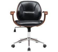 New Pacific Direct Samuel Office Chair Bamboo and Fabric With Armrests Black