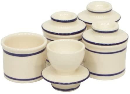 Norpro Butter Keeper Crock Stoneware Mini White Accent-blue single