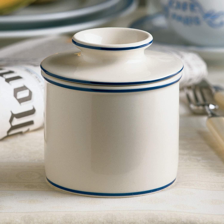 Norpro Butter Keeper Crock Stoneware White Accent-blue