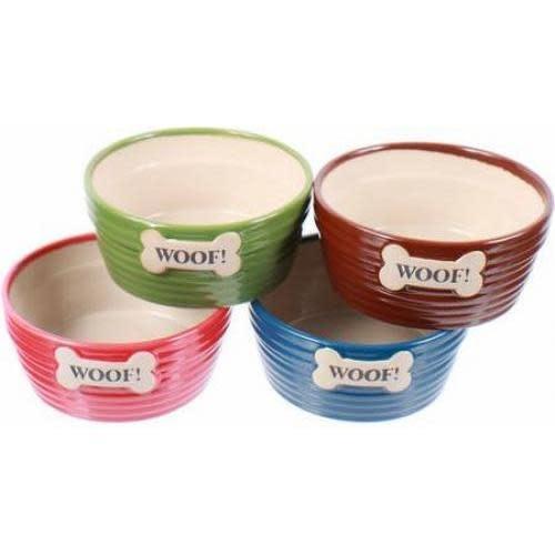 Dennis East Everyday Pet Food Bowl - Ceramic Embossed Bone Woof 4 Colors (Each Sold Separately)