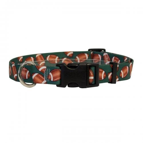 Yellow Dog Dog Collar 1in wide Large 18inch-28inch Football