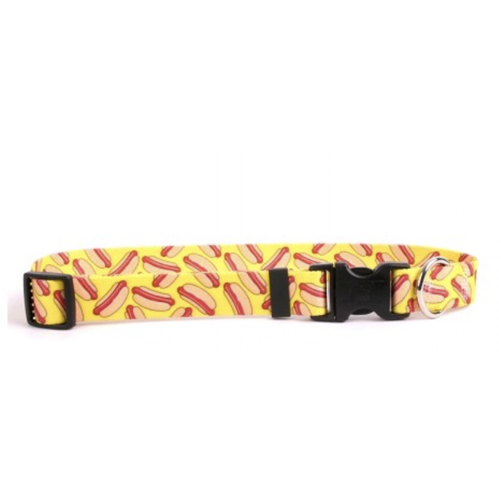 Yellow Dog Dog Collar 1in wide Large 18inch-28inch Hot Dog