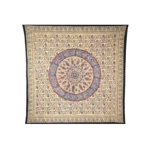"Homestead Table Linen Circle Kalamkari Tablecloth 60"" x 60"""