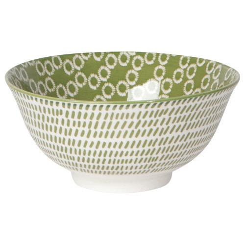 "Now Designs Stamped Pattern Bowl - 6"", Green Ring"