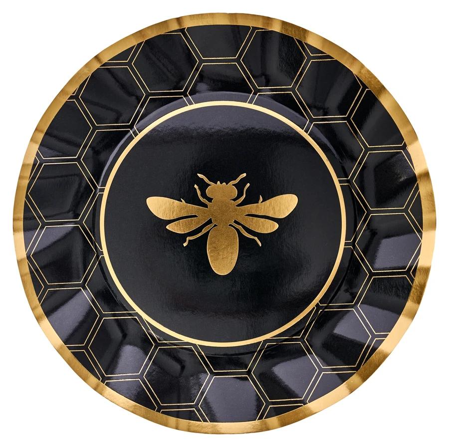 """Sophistiplate Paper Dinner Plate 10.5"""" Honeybee 8pk"""