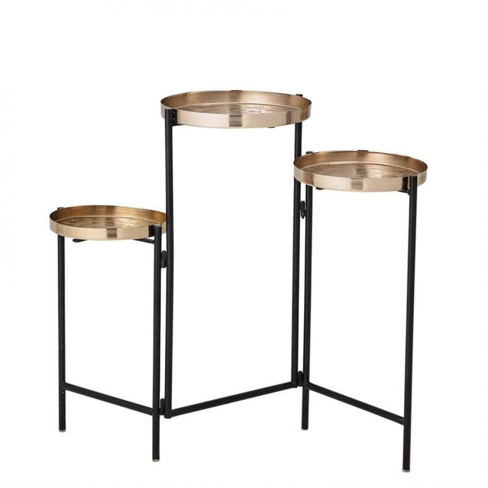 Bloomingville Accent Table - Three Tiered Brass Trays with Black Base