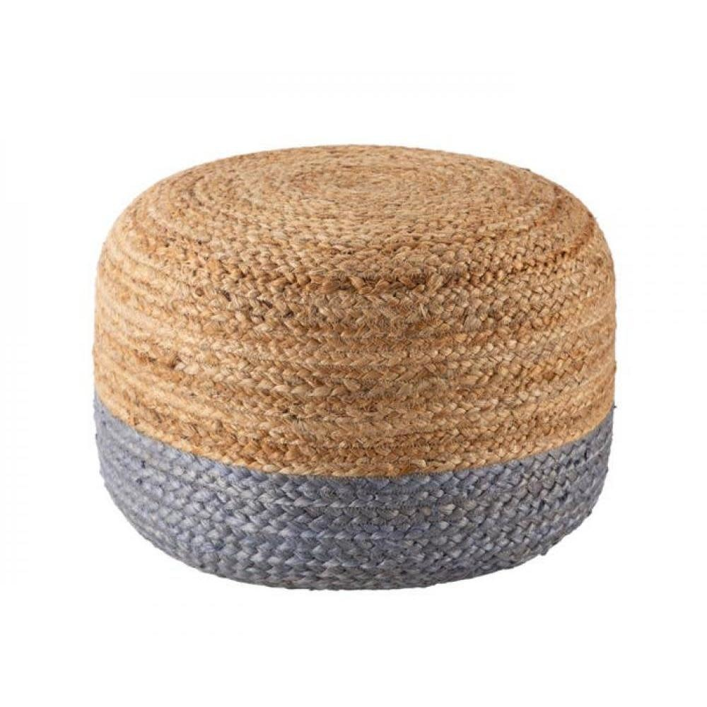 Jaipur Rugs Pouf Round Saba Sky 18in x 18in x 12in
