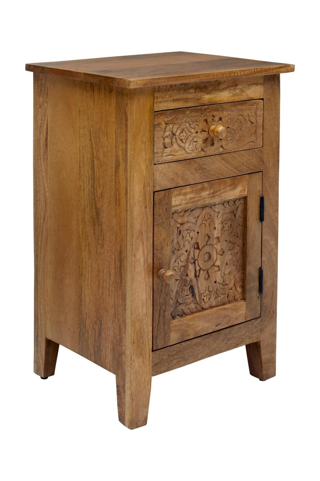 Jofran Global Archive Devi Accent Table Hand Carved Solid Mango