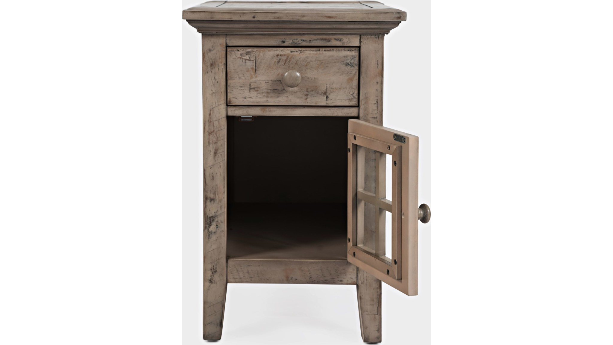Jofran Rustic Shores Chairside Table Watch Hill Weathered Grey