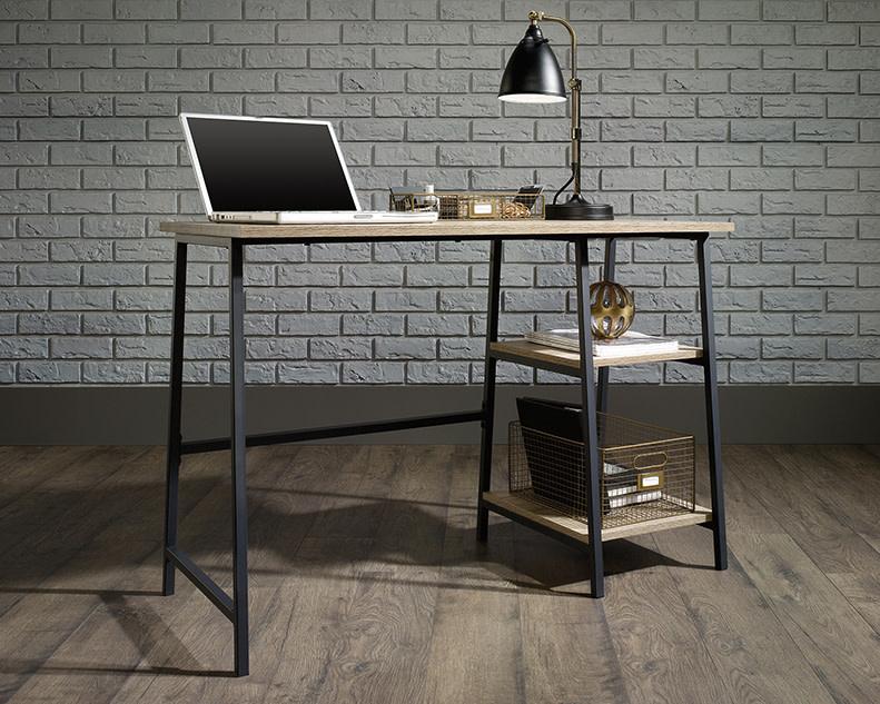 Sauder North Avenue Single Pedestal Desk With Shelves Charter Oak Finish