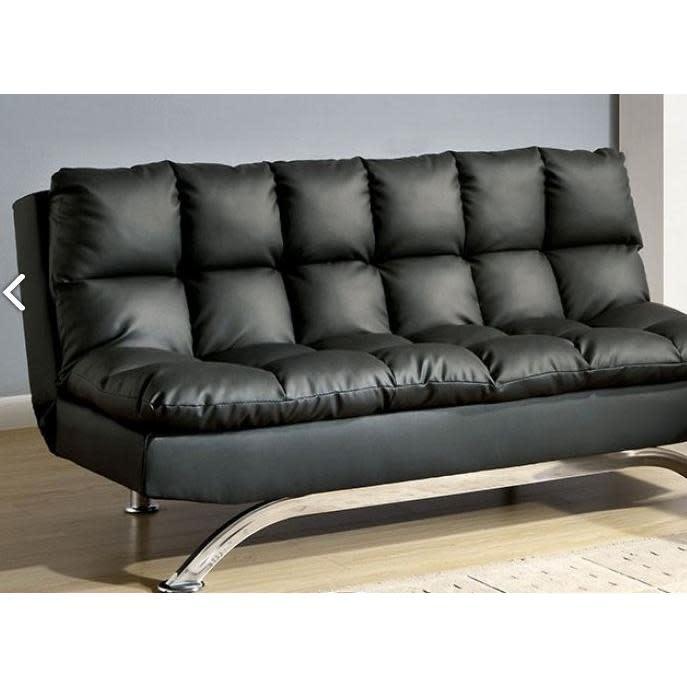 Furniture of America Aristo Adjustable Sofa Futon Black Leatherette