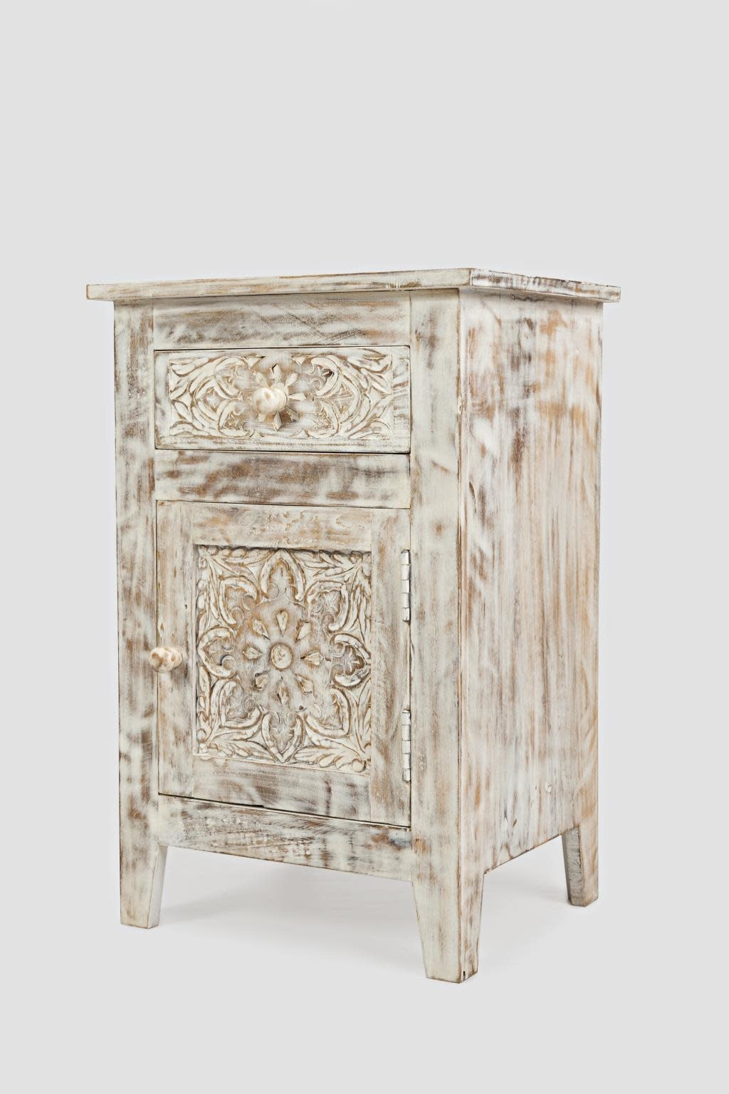 Jofran Global Archive Devi Accent Table Hand Carved Solid Mango Weathered White