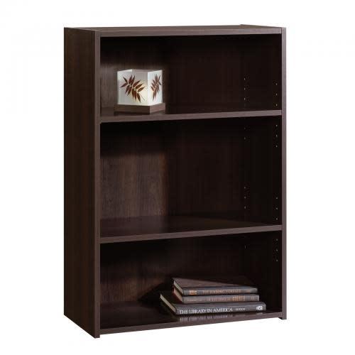 Sauder Beginnings Bookcase Cinnamon Cherry Finish Three Shelf