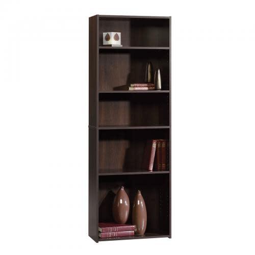 Sauder Beginnings Bookcase Cinnamon Cherry Finish Five Shelf