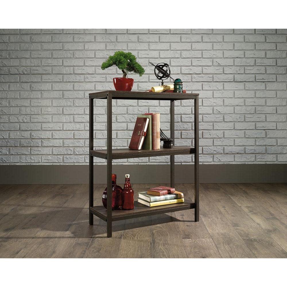 Sauder North Avenue Bookcase Three Shelf Smoked Oak Finish