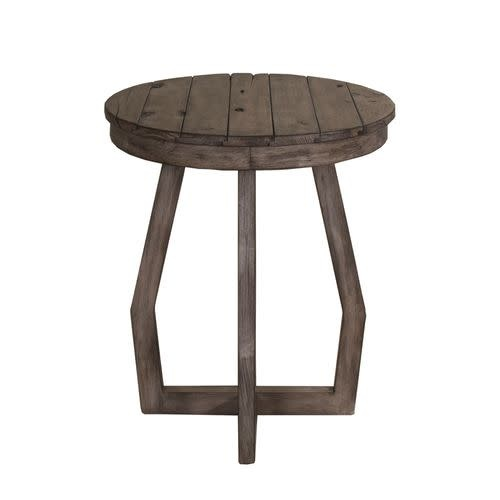 Liberty Home Furnishings Hayden Way Gray Wash Finish Round Chairside Table