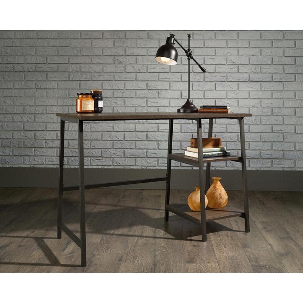 Sauder North Avenue Single Pedestal Desk With Shelves  Smoked Oak Finish