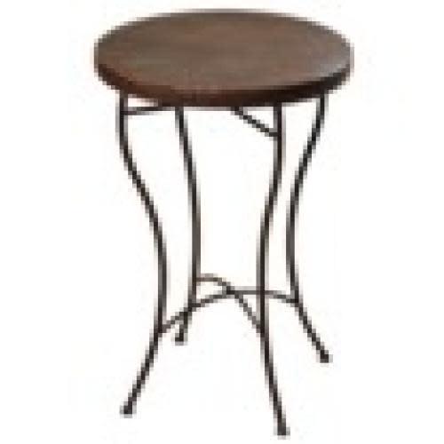 Stylecraft Table Hammered Copper Top Metal Legs 23in Tall 16in Diameter