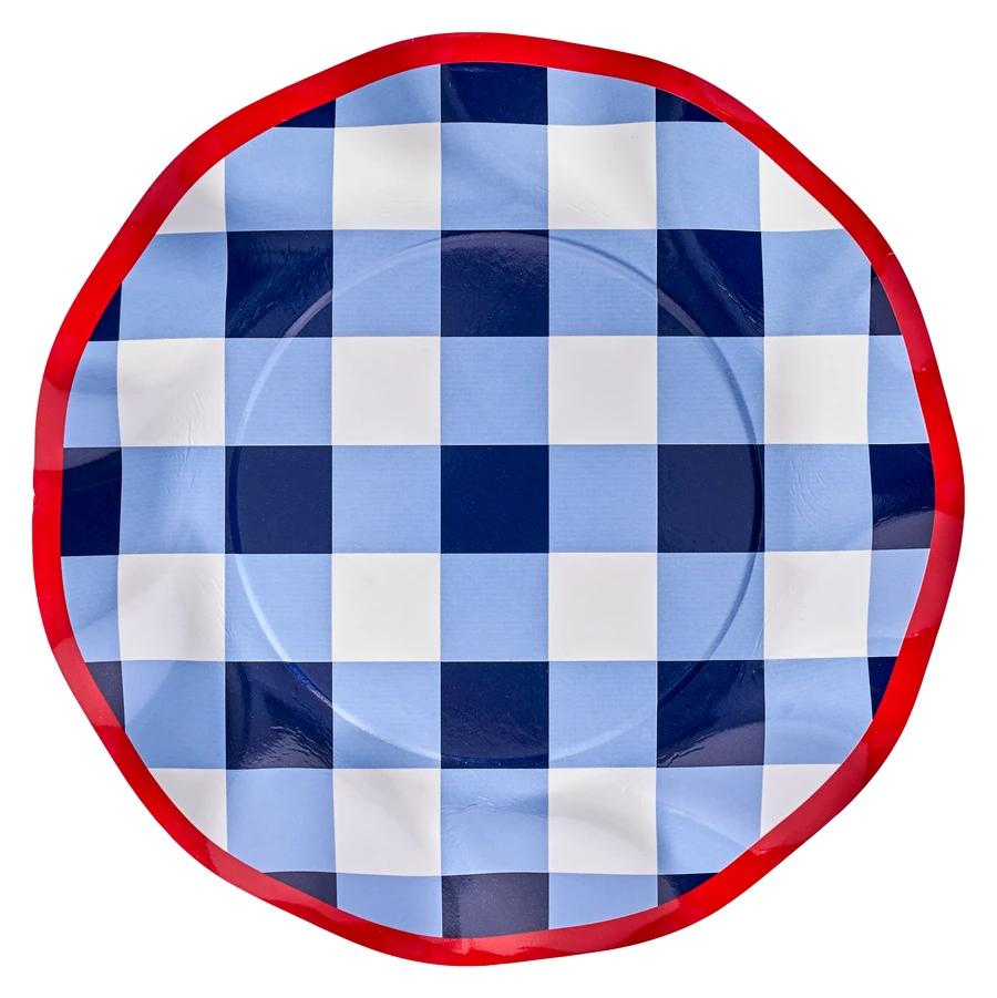 "Sophistiplate Paper Salad Plate 8"" Blue Check 8pk"