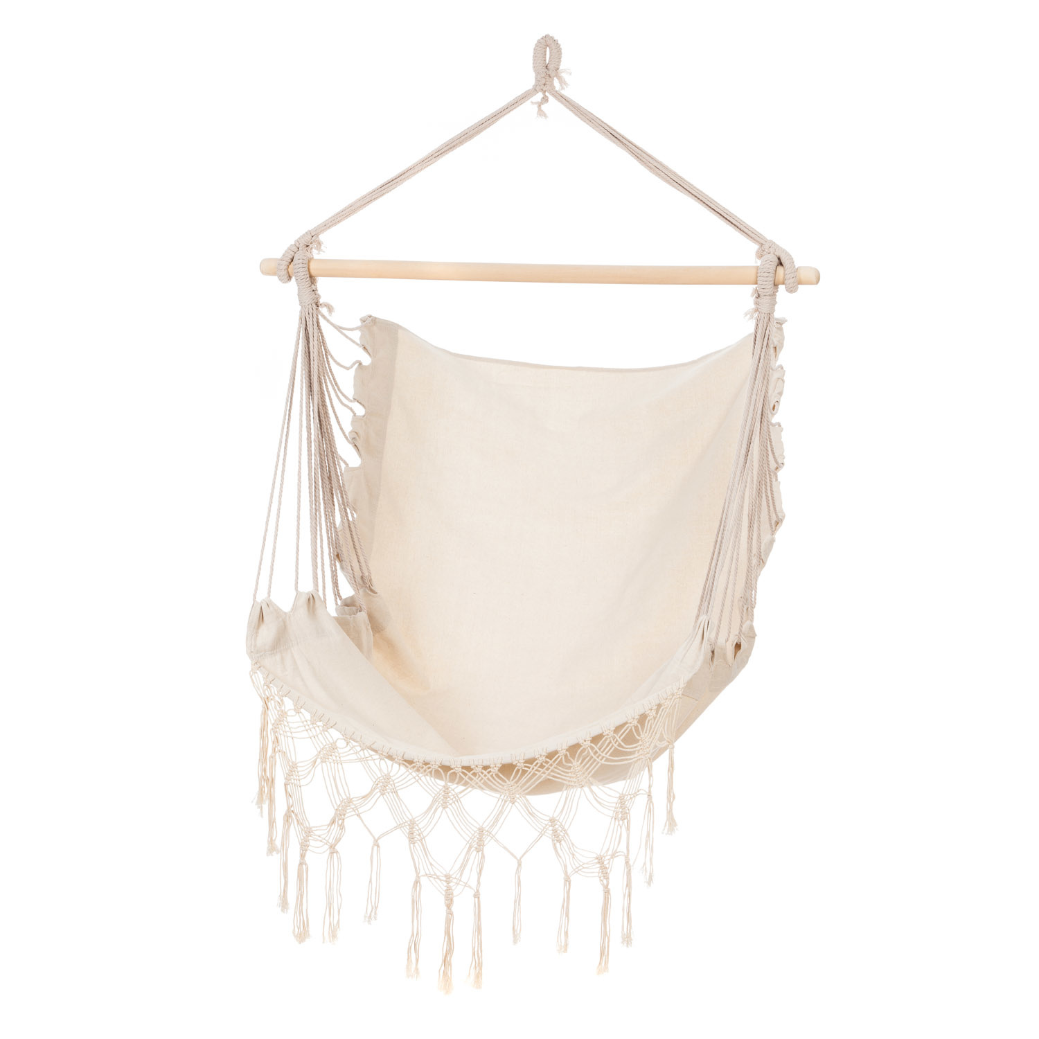 Evergreen Everyday Natural Hammock Chair with Fringe