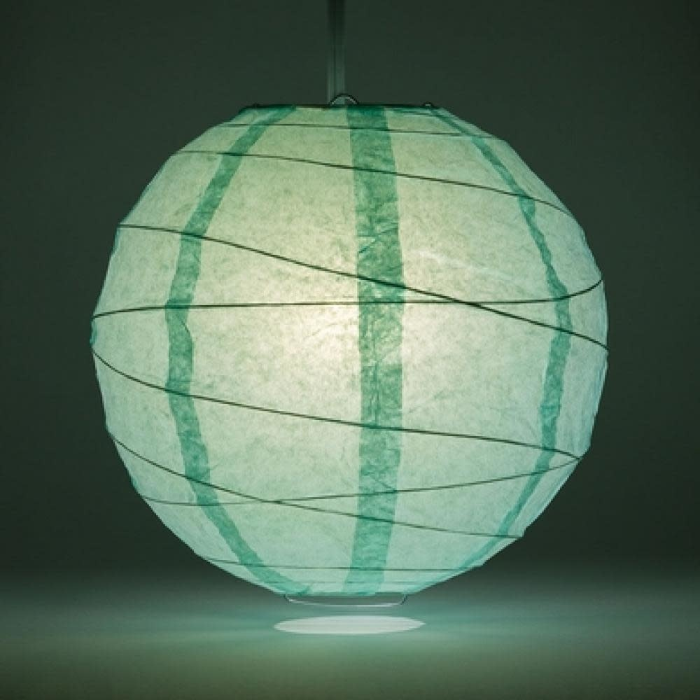 Asian Import Store Paper Lantern 16in Irregular Ribbed Cool Mint ( Robin's Egg )