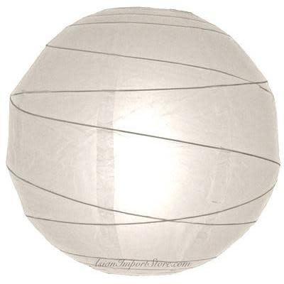 Asian Import Store Paper Lantern 14in Irregular Ribbed White