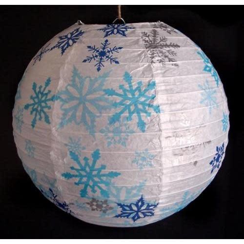 Asian Import Store Paper Lantern 14in Regular Rib Pattern Snowflakes
