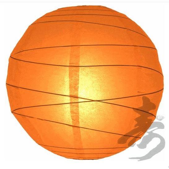 Asian Import Store Paper Lantern 16in Irregular Ribbed Orange
