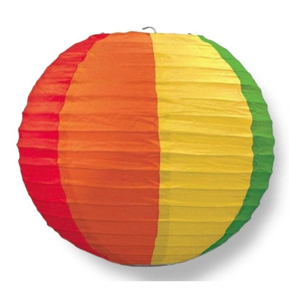 Asian Import Store Paper Lantern 14in Regular Rib Pattern Rainbow
