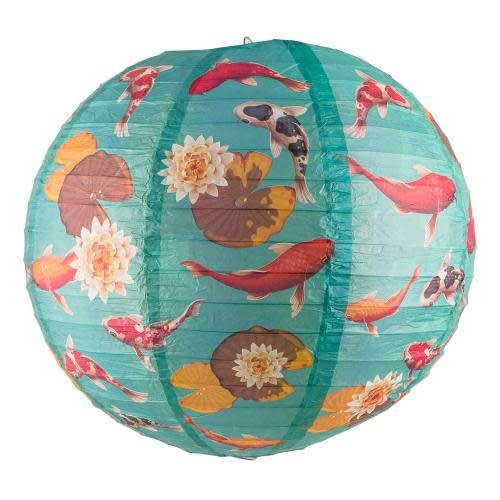 Asian Import Store Paper Lantern 14in Regular Rib Pattern Koi Fish