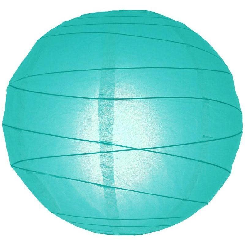 Asian Import Store Paper Lantern 8in Irregular Ribbed Water Blue