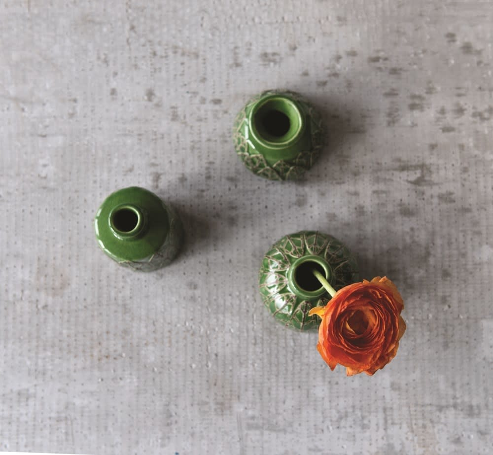 Creative Co-Op Vase Stoneware Embossed Set of 3 Green