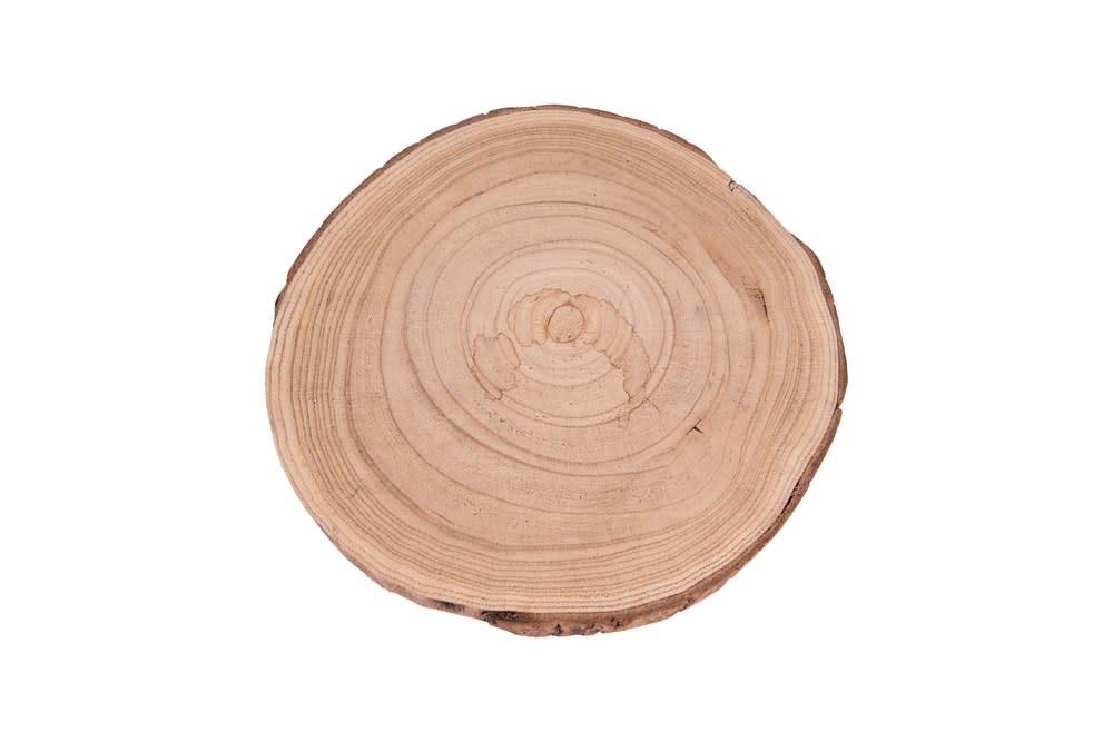 """Creative Co-Op Pedestal Paulownia Wood Metal Legs 11"""" Round"""