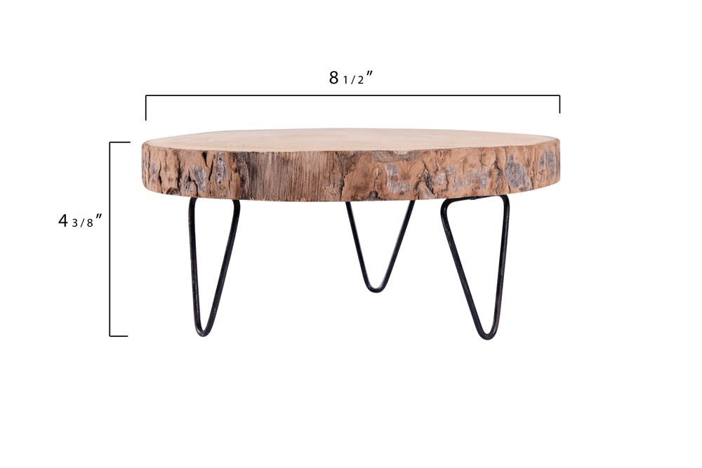 """Creative Co-Op Pedestal Paulownia Wood Metal Legs 9"""" Round"""