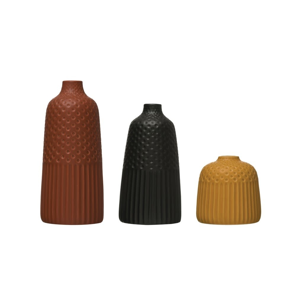 Creative Co-Op Vases Embossed Stoneware Matte Glaze Set of 3 sizes Yellow, Rust, and Black